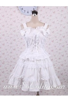 Square Neck Halter bow Decoration Corset Sweet Lolita Dress