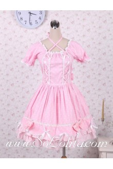 Lovely Pink White Trim Puff Sleeves Sweet Lolita Dress