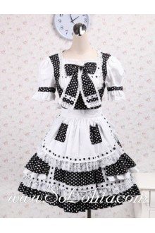 Lace Hem Black and White Dot Bow Tie Sweet Lolita Dress