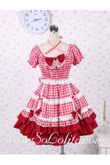 Bow tie Red Plaid Elastic Waist Sweet Lolita Dress