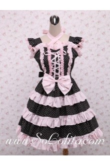 Lovely Black Polka Dot Pink Flouncing Hem Sweet Lolita Dress