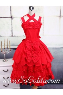 Crossover Bow Tie Neck Petal Skirt Sweet Lolita Dress