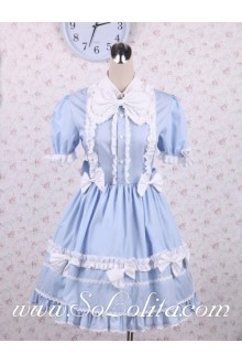 Turndown Collar Bow Tie Corset Shyblue Sweet Lolita Dress