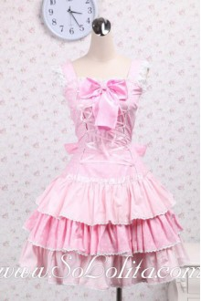 Lovely Pink Polka Dot Ribbon Corset Sweet Lolita Dress