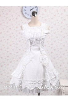 Pure White Sleeveless Ribbon Corset Lace Hem Sweet Lolita Dress