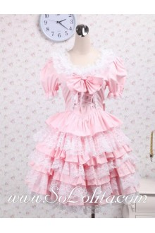 Lovely Lace Hem Bowtie Neck Multi-layer Skirt Sweet Lolita Dress