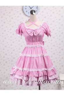 Crossover Bowtie Neck Pink Plaid White Hem Sweet Lolita Dress