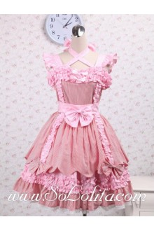 Crossover Bowtie Neck Flounce Lace Hem Sleeveless Sweet Lolita Dress