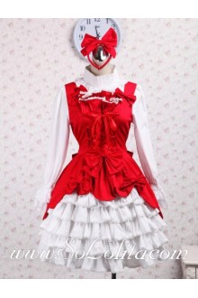 White Multi-Layers Pleated Skirt Red Bowtie Neck and Crossover Ribbon Corset Sweet Lolita Dress