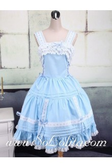 White Lace Hem Skyblue Puff Pleated Skirt Sweet Lolita Dress