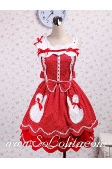 Two Layers Polka Dot Petal Skirt Lace Hem Sweet Lolita Dress