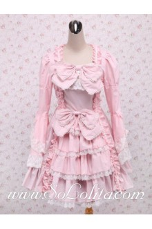 White Lace Flounced Hem Bowties Lingt Pink Sweet Lolita Dress