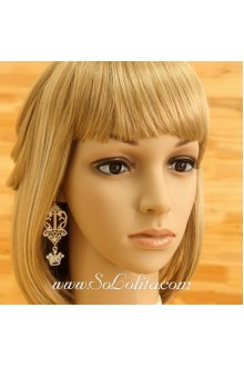Lolita Sweety White Lace Wonderland Crown Earring