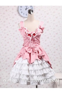 Sleeveless Flounce Neck Ribbon Corset Towering Skirt Sweet Lolita Dress