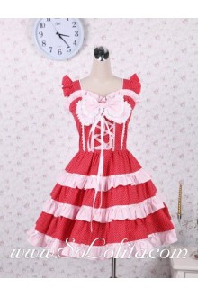 Pink Bowties and Pleated Hem White Polka Dot Red Sweet Lolita Dress