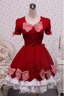 Lace Hem Red and White Stripes Bows Sweet Lolita Dress