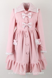 Pink Wool Lapel Long Sleeves Bow Pocket Button Sweet Lolita Coat