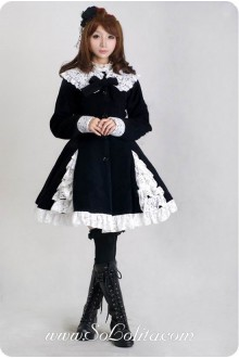 Black Wool Blended Woolen Doll Collar White Lace Trim Button Bow Lolita Coat