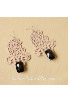 Lolita Lovely Fashion Milk Coffee Lace Gem Earring