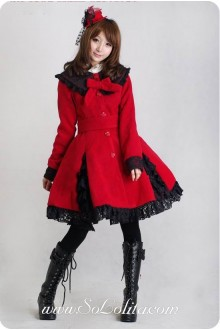 Red Wool Blended Woolen Doll Collar BlackLace Trim Button Bow Lolita Coat