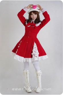 Red Wool Blended Woolen Doll Collar WhiteLace Trim Button Bow Lolita Coat