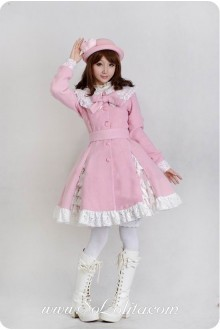 Sweet White Lace Decoration Pink Lolita Coat