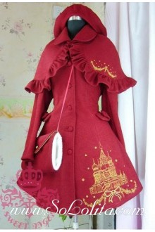 Princess Snow castle Pattern embroidery wool Lolita Coat