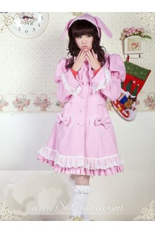 Lovely Princess Bowtie Lace Fashion Wild Pink Lolita Coat