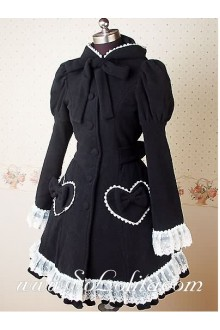 Lovely Princess Bowtie Lace Fashion Wild Black Lolita Coat