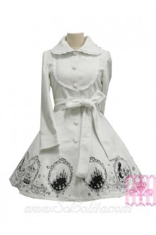Lovely Embroidery Lace Decoration White Princess Lolita Coat