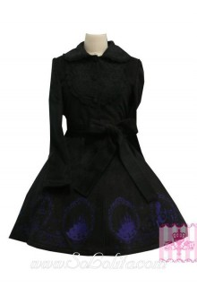 Lovely Embroidery Lace Decoration Black Princess Lolita Coat