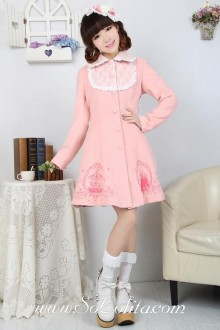 Lovely Embroidery Lace Decoration Pink Princess Lolita Coat
