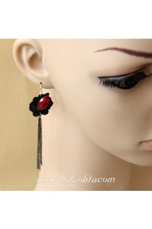 Lolita Punk Black Temptation Lace Tassel Earring