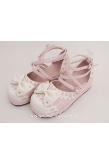 Pink Bow PU Sweet Lolita Shoes