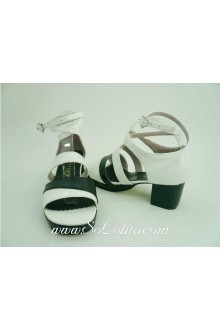 Black and White Sweet PU Lolita Shoes
