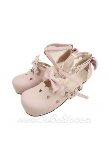 Pink Round Toe PU Sweet Lolita Shoes