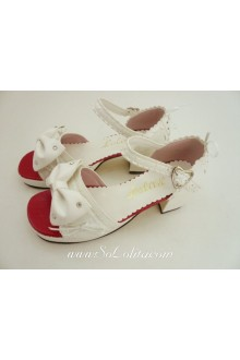 White and Red Bow Lacework PU Sweet Lolita Shoes