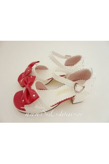 Cute White and Red Bow Lacework PU Sweet Lolita Shoes