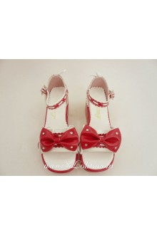 Red Lacing PU Sweet Lolita Shoes