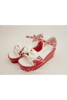 Red Cute White Bow PU Sweet Lolita Shoes