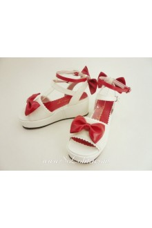 White Cute Bow Platform PU Sweet Lolita Shoes