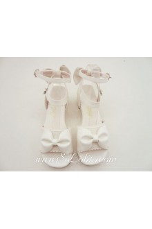 Pink Bow Thick Heel PU Sweet Lolita Shoes