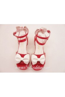 Red PU and White Bow Sweet Lolita Shoes