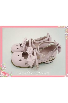 Pink Lace Bow Heart PU Sweet Lolita Shoes
