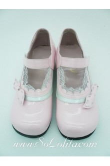 Pink Lace Trim PU Sweet Lolita Shoes