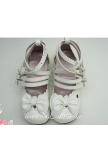 White Beautiful Handmade Customized Sunshine Princess PU Sweet Lolita Shoes
