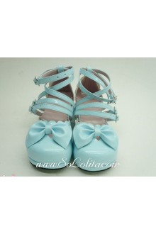 Blue Beautiful Handmade Customized Sunshine Princess PU Sweet Lolita Shoes