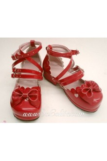 Red Beautiful Handmade Customized Sunshine Princess PU Sweet Lolita Shoes