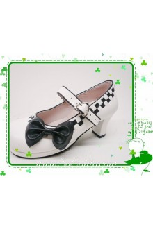White and Black Bow PU Sweet Lolita Shoes