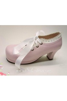 Pink Lacing PU Sweet Lolita Shoes